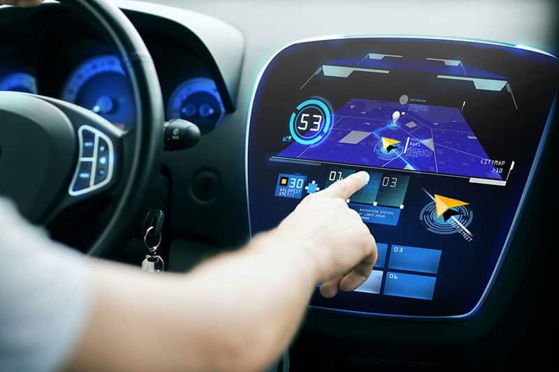 a digital dashboard in car